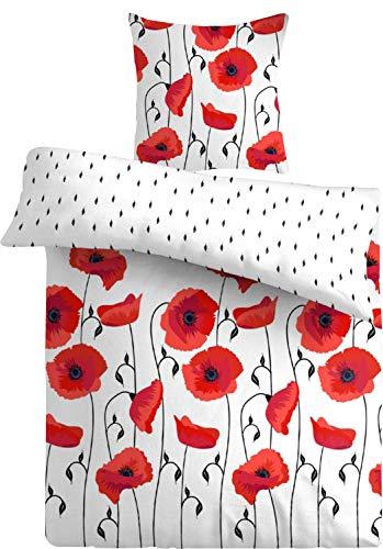 one-home 4 teilig Bettwäsche 135x200 cm Mohnblume Blumen rot weiß Wende Mikrofaser Set