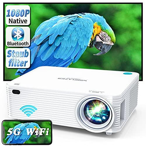 WISELAZER Video Beamer Full HD Native 1080P Projektor, 5G WiFi/Bluetooth/Eingebauter Staubfilter/AirPlay/Miracast/4-Punkt Keystone, Heimkino LED HD Projector für HDMI/USB/TV Box/Smartphone/PC