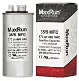 MAXRUN 35+5 MFD uf 370 or 440 Volt VAC Round Dual Run Capacitor for Air Conditioner or Heat Pump - Runs AC Motor and Fan – 5 Year Warranty