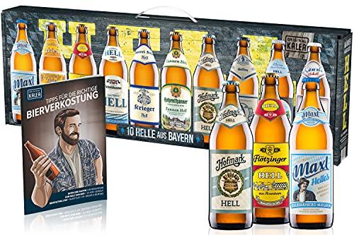 Kalea Männerhandtasche Hell | Beer Tasting Box | Geschenk-Idee zum Vatertag | Papa | Männer | Bier-Spezialitäten von Privatbrauereien | mit Henkel | Geburtstag (Männerhandtasche Hell 10x0,5l)