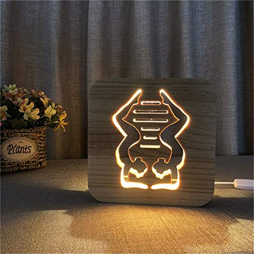 Only 1 Piece Yoga Light Gym Wooden 3D Illusion Light Carving Creative LED Night Light USB Table for Kids Gift Home Decoration