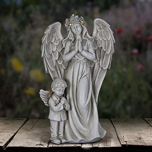 Exhart Angel Garden Statue with Little Boy – Light Up Resin Angel Figurines Feature Battery-Powered LED Lights Timer - Angel Resin Statues, Memorial Decoration 8' W x 14' H