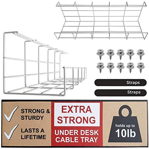Kabelkorf voor Onder het Bureau - Kabels Organiseren en Draden Beheren. Metaaldraad Kabelkorf voor op Kantoor en Thuis (Wit - Set van 2x 40,5cm)