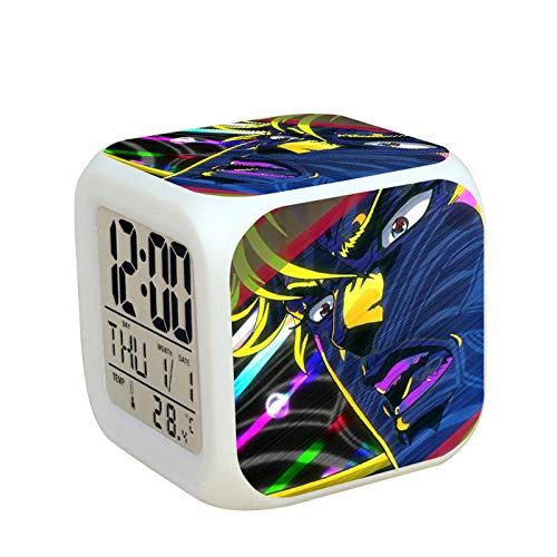 Kids nachtkastje digitale wekker LED kleurrijk nachtlampje sfeerwekker vierkante klok aanrakingsschakelaar muis reis kleine wekker met USB-aansluiting voor opladen cadeau voor kinderen Q10035