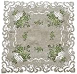 Embroidered Green Leaf on Antique Green Fabric Doily, Table Centerpiece, Table Topper, Dresser Scarf 23 Inch Square