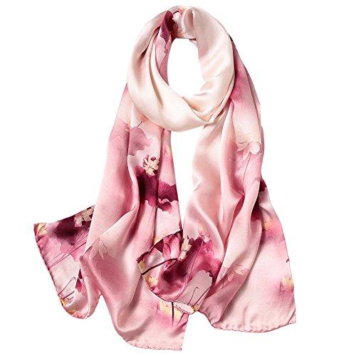 STORY OF SHANGHAI Seidenschal Damen 100% Seide, 20+ Bunte Luxuriöse Schals, Warm & Weich, als Stola Seidentuch Halstuch Pashmina - 53 * 170 cm Lotos 2
