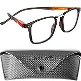Gafas de Lectura de Moda Cristales Rectangulares Grandes, Funda Gratis, Montura el Plástico (Marrón) de Hombre y Mujer +2.0 Dioptrías