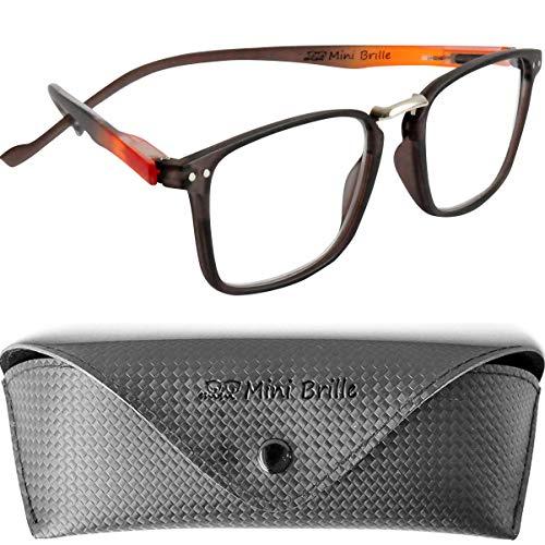 Trendy Lesebrille mit großen rechteckigen Gläsern, GRATIS Brillenetui, Kunststoff Rahmen (Braun) mit Flexible Bügeln, Lesehilfe Herren und Damen +1.5 Dioptrien
