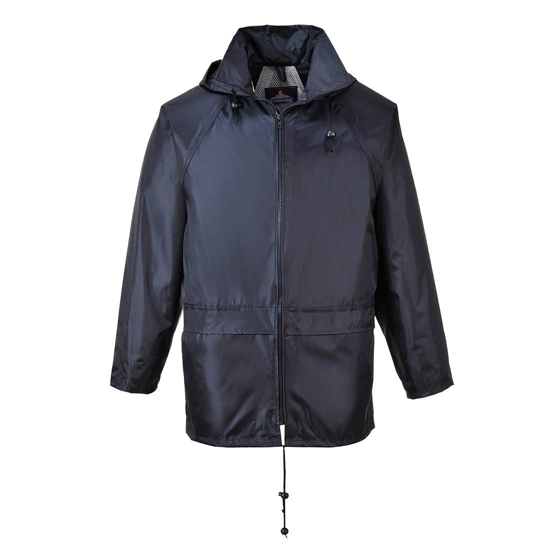 Portwest US440 Classic Waterproof Rain Jacket wth Pack Away Hood & Sealed Seams, Navy, XXL