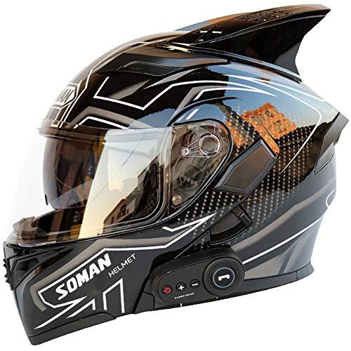 Story of life Inklapbare bluetooth-helm, motorfiets, bluetooth, tourhelmen met FM-luidsprekers, voor mannen en vrouwen