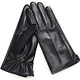 YILI Damen-Winterhandschuhe aus PU-Leder sowie Samthandschuhe zum Warmhalten von Voll-Touchscreen-Handschuhen -