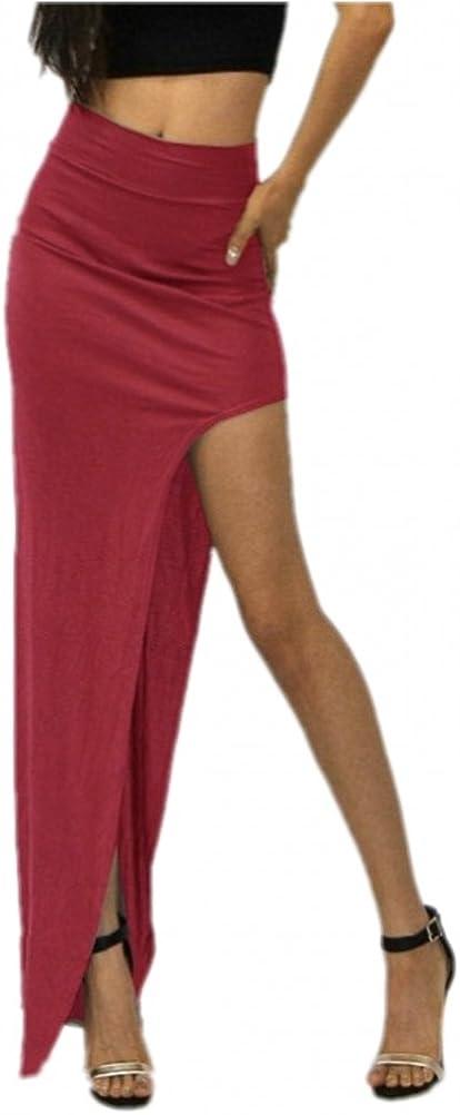Free2mys Women's Sexy Side Slit Stretch Maxi Skirt Clubwear