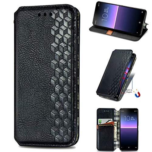 Funda para Huawei Y5p, a prueba de golpes, de piel sintética, con soporte para tarjetas, soporte magnético oculto, con función atril negro negro Huawei Y5p