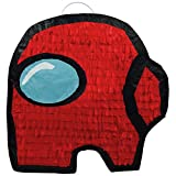 Impostor Gaming Themed Crewmate Mini Pinata Doubles As Classic Party Game Or Decoration Piece for Kids Birthday Parties (Red)
