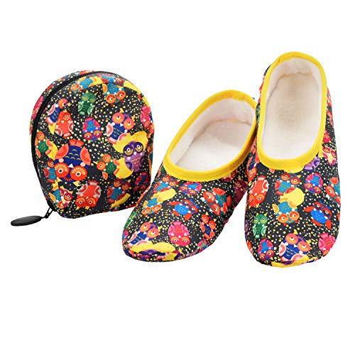 Snoozies Skinnies & Travel Pouch   Purse Slippers for Women   Travel Flats with Pouch   Womens Slippers On The Go   Owls   Large