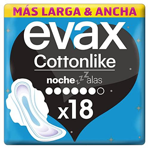 Evax Cottonlike Compresas Noche Con Alas, 18 Unidades, Parte Trasera 60% Más Larga Y Ancha