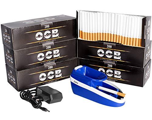 JeVx Maquina Liadora de Tabaco Electrica + 1200 Tubos con Filtro OCB Entubadora...