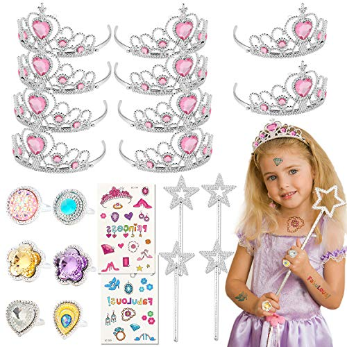 Tacobear 50 Piezas Disfraz Princesa Niña con Tiara Princesa Corona Princesa Tatuajes Anillos Varita Mágica Disfraces Princesas Vestido Accesorios Set Regalos Fiesta Cumpleaños para Niñas Niños
