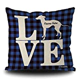 MALIHONG Love Dog Personalized Pillowcase Silhouette Italian Greyhound Blue Buffalo Plaid Checked Dog Throw Pillow Cover for Sofa Bed Home Decor 20x20 Inch