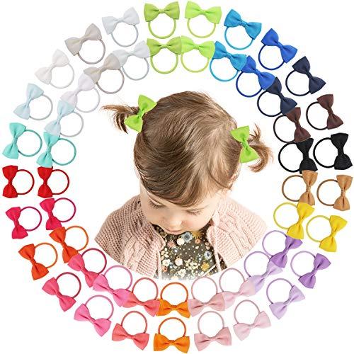 DeD 50 lazos elásticos de grogrén con banda de goma para el pelo, accesorios para el pelo para bebés, niñas y niños en pares