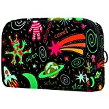 Bolsa de Maquillaje Bolsas de Aseo Organizador de cosméticos Bolsa con Cremallera para Mujer Saturno Luna Sol Cometa
