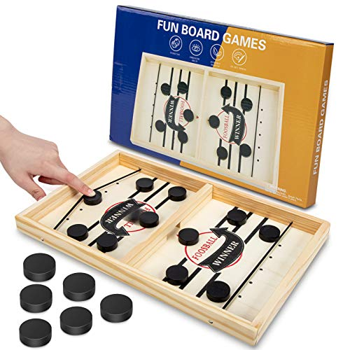 Fast Sling Puck Game - MOMSIV Table Desktop Battle Wooden Hockey Game, Parent-Child Interactive Slingshot Game Toy, Winner Board Games Toys for Adults and Kids