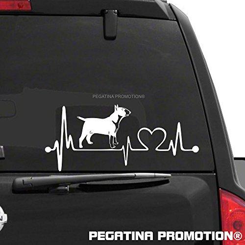 Herzschlag Bullterrier Bull Terrier Aufkleber 20 cm von Pegatina Promotion ® ohne Hintergrund aus Hochleistungsfolie für Lack und Scheibe,Autoaufkleber, Laptop, Wandtattoo, Küche, Hund Hunde Dogs Sticker Herzlinie Hundefan