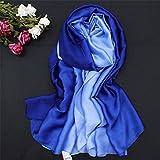 DSHRTY Bufanda 2019 Verano gradiente Bufanda de Seda para Mujer/Damas Moda chales Largos y Abrigos Bufandas de Pashmina Foulard soie 190 * 110 cm, Azul Real, Talla única