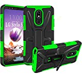 HNHYGETE LG STYLO 5 Case,LG Stylo 5X Case, Dual Layer Heavy Duty Non Slip Shockproof Bumper Rugged Support Protective Cover for LG STYLO 5 (Green)