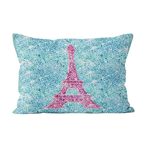 sherry-shop Girly Pink Eiffel Tower Trendy Teal Glitter Photo Beauty Rectángulo Throw Pillow Cover Funda de cojín Boudoir 20X30 Inchpillowcase