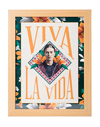 Grupo Erik Cuadro Decorativo Frida Kahlo Viva La Vida, 30X40 Cm