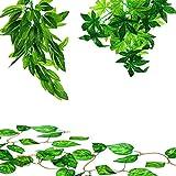 Wivarra Kits de Plantas de Reptiles de 3 Piezas de 12 Pulgadas, Que Incluyen Plantas Artificiales y 2 Enredaderas para Colgar Plantas de Vid