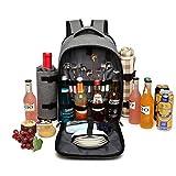 Kono Mochila de picnic para 4 personas con soporte de botella extraíble Portador de vino Mochila de almuerzo de picnic grande para acampar Barbacoa Actividades familiares al aire libre(Gris)