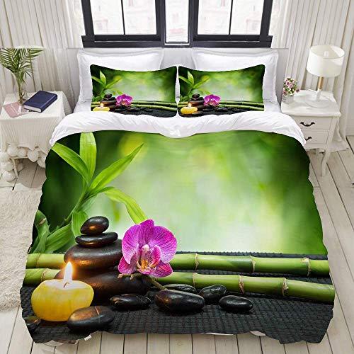 Funda nórdica, orquídea púrpura, vela, con torre de piedras negras, estera de bambú sobre negro, juego de ropa de cama Juegos de fundas de edredón de poliéster ultra cómodo y ligero de lujo (3 piezas)