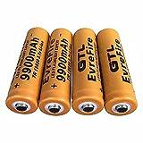 Pilas 18650 Pilas Recargable 3.7 V 9900mmAh de Iones de Litio de Alta Capacidad Baterías, 1800 Ciclos de Larga Duración con Botón Superior Pilas para Linterna