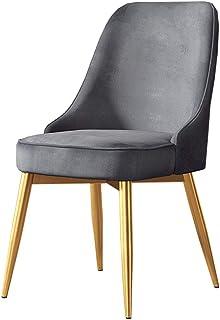 Sillas de Comedor (Juego de 4) Nordic Thicken Velvet Seat Back Sillas de Ocio Cocina Sala de Estar Silla sin Brazos con Patas de Metal Dorado, Gris