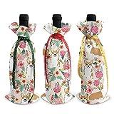 3pcs sacs de bouteille de vin, sac fourre-tout de Noël de fleurs de Corgi pour le mariage, cadeaux de fête, fournitures de fête de Noël, de vacances et de vin