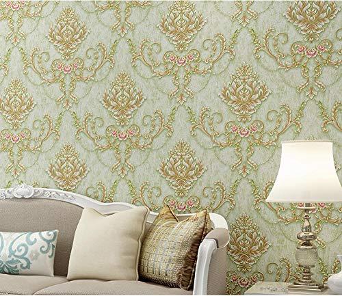 Papel pintado 3D flores no tejido Papel pintado verde claro para decoración de pared de dormitorio y hogar, papel pintado minimalista de lujo 0.53mx9.5m