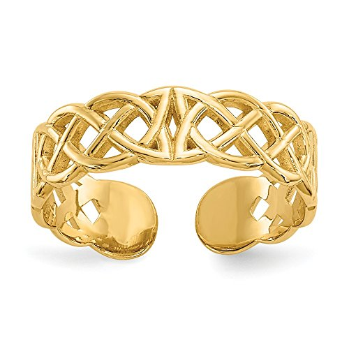 Jewelryweb Solid 14k Yellow Gold Solid Polished Celtic Irish Adjustable Toe Ring for women and teens (4mm wide)