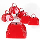 Kicko Red School Cowbell - Pack of 6-3 inches of Cool and Fun Metal Bell - Designed Cowbells - Noise Maker Toys, Novelty Games and Gag Toys