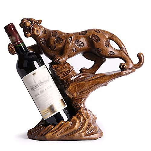 Yadlan Botellero Estante para Botellas de Vino de Resina, Creativo Adornos para el Hogar, Bar, Hotel, Accesorios del Gabinete del Vino, Animal Leopardo Figura Decoracion