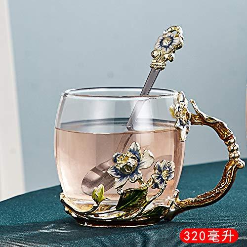 VYEKL Farbe Tasse Haushaltsgürtel mit bedecktem Kaffeeglas Saft Teetasse 320ml 2 Packungen