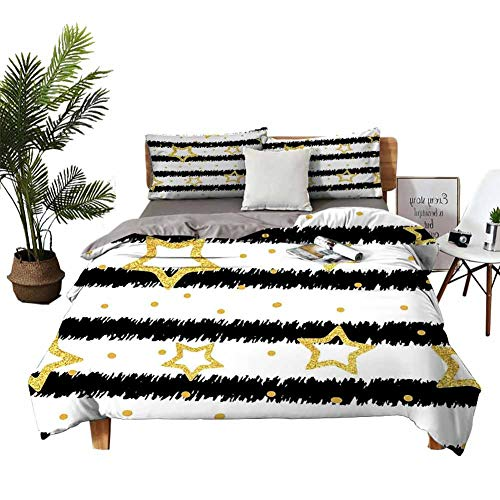 DRAGON VINES Bed Sheets King Star Pocket Full of Sheets Golden Stars and Dots with Digital Effect on Striped Pattern Celebration Theme W78 xL78 Black White Gold