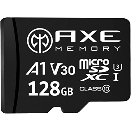 AXE MEMORY 128GB microSDXC Memory Card + SD Adapter with A1 App Performance, V30 UHS-I U3 4K