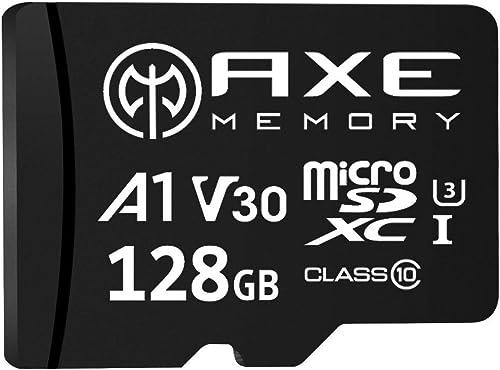 AXE Carte Mémoire Microsdxc 128 Go + Adaptateur SD avec Application A1 Performance, V30, UHS-I U3, 4K