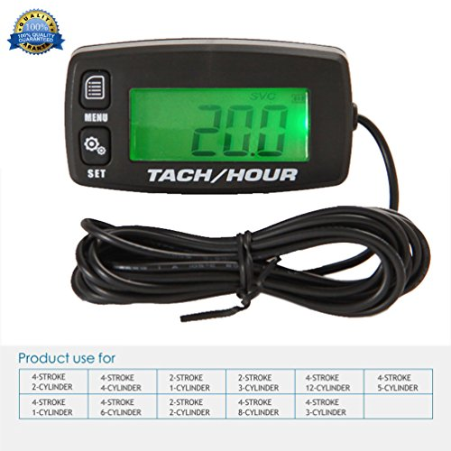 Small Engine Tachometer Track Oil Change Inductive/Hour Meter Can be Turned off Backlit Digital/ Tach Hour Meter/Single Resettable/Hour Meters /for/Motorcycle ATV UTV/Snow Blower Lawn Mower Boat