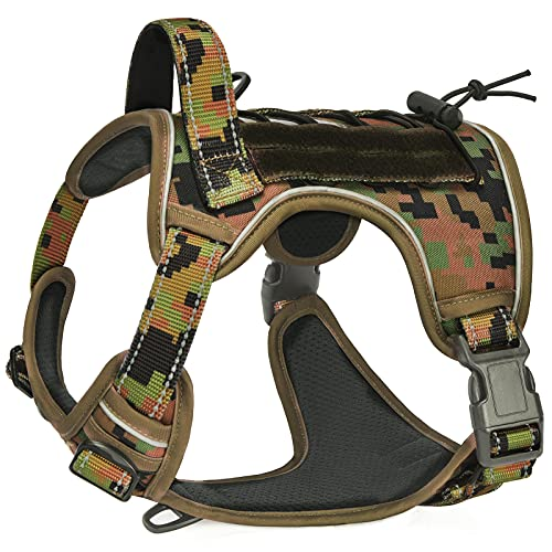 CBBPET Tactical Dog Harness Reflective No Pull Pet Vest Harness for Large Dogs Training Walking Hunting (Army Green Camouflage, Large)