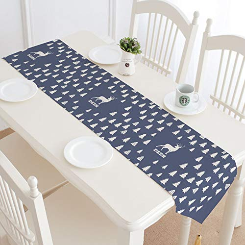 Nordic Elk Cotton And Linen Cloth Art Table Runner Used For Tv Counter Cloth Dust Cover Cloth Tea Table Table Cloth Soft Decoration 32x180cm