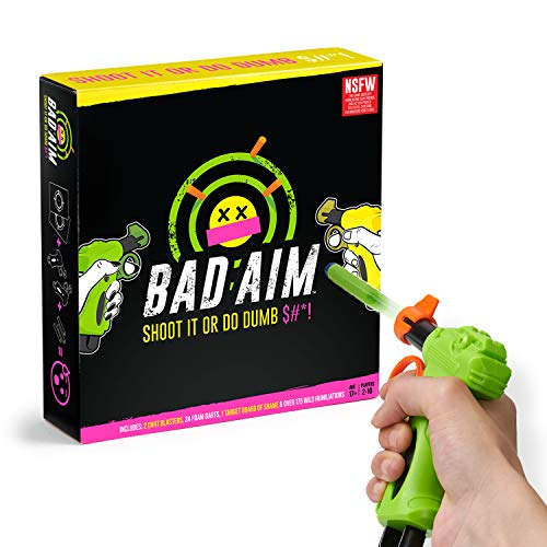 Bad Aim - Party Game - The Hilarious Truth or Dare Shootout - Perfect Game for Home. Ages 17+
