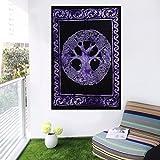 MY DREAM CARTS Póster de árbol de la Vida de algodón, tamaño pequeño, Hecho a Mano, diseño Bohemio, 101 x 76 cm, Color Morado